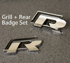 2pcs VW R Grill + Rear Boot Badge Emblem Decal Golf Polo Scirocco line R20 Black