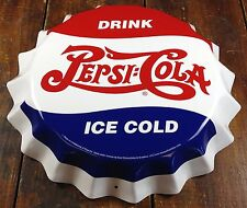 DRINK PEPSI COLA ICE COLD RED WHITE & BLUE BOTTLE CAP SHAPED RETRO METAL SIGN