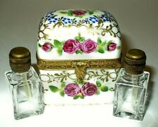 LIMOGES BOX ~ FLORAL CHEST & TWO PERFUME BOTTLES ~ FLOWERS ~ ROSES ~ PEINT MAIN