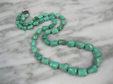 ANTIQUE CHINESE BLUE TURQUOISE BONE BEAD STERLING SILVER CHARACTERCLASP NECKLACE