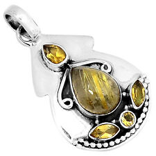 Golden Rutile & Citrine 925 Sterling Silver Pendant Jewelry 3320P