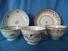 18thC NEWHALL TEA BOWL & SAUCER, BASKET PATTERN + 2 OTHER TEA BOWLS & SAUCER (5)