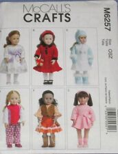 """NEW UNCUT McCALL'S M6257 18"""" DOLL CLOTHES & ACCESSORIES PATTERN"""