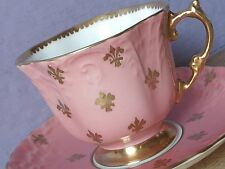 Antique Aynsley Pink Gold fleur de lis Bone China tea cup, English teacup