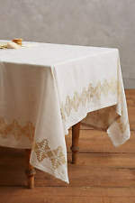 """NEW ANTHROPOLOGIE CREAM & GOLD BRINDLEY RECTANGLE TABLECLOTH 72"""" X 90"""""""