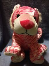 Six Flags Tiger With Pink Stripes. Shiny Soft 11 1/2 Inch Plush Stuffed Animal.