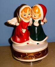 VTG BERMAN & ANDERSON MUSIC BOX MUSICAL SILENT NIGHT CERAMIC ANGEL DUET JAPAN OB