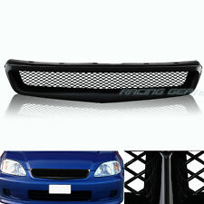 JDM TYPE-R STYLE ABS BLACK FRONT HOOD BUMPER GRILLE GRILL FIT 99-00 HONDA CIVIC