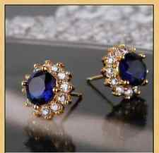 Sapphire Blue & White Topaz 18ct Gold filled flower shaped stud earrings Round