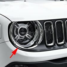 Chrome Head Light Lamp Cover For Jeep Renegade BU Headlight Circle Accessories