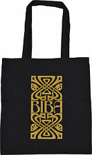 RETRO BIBA OF KENSINGTON LOGO SHOPPING ECO TOTE BAG 100% BLACK COTTON GOLD PRINT