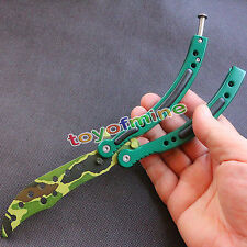 Practice BALISONG METAL BUTTERFLY Combat CSGO Trainer Tool Knife with Sheath