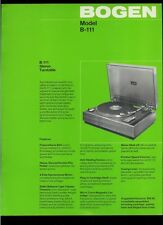 Super Rare Factory Original Bogen B-111 Stereo Turntable Dealer Sheet