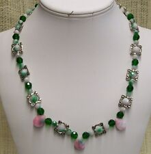 Rainbow Candy Jade Necklace Handmade With Emerald Color Crystals One of a Kind