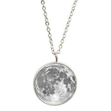 Full Moon Pendant & Silver Plated Necklace lunar space exploration NEW