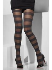 Block Stripe Ladies Sheer Black Tights Fancy Dress Accessory One Size
