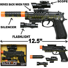 GUN WITH SILENCER PLAY SET TOY SWAT ASSAULT POLICE RIFLE MACHINE BERETTA M9