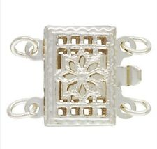 925 Sterling Silver 8x11mm Rectangular Filigree Pearl 2 Row Clasp 1set  #5308-2