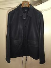 PAUL SMITH Men's Navy-Grey Coach Leather Jacket Size S But Will Fit M BRAND NEW!