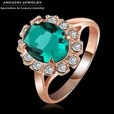 18K REAL  ROSE GOLD FILLED GREEN RING SIZE 8(Q) MADE WITH SWAROVSKI CRYSTALS