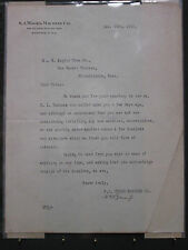 S. A. WOODS MACHINE CO. BOSTON WOOD PLANER 1910 LETTER OF CORRESPONDENCE