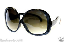 Women's XXL Boho Sunglasses Vintage 70s Shades Black Oversize Hippie Fashion 453