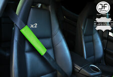 2X GREEN LEATHER LUXURY SHOULDER SEAT BELT PADDED HARNESS PADS