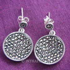 Ohrringe - 1 Paar Ohrstecker aus 925 Sterling Silber mit Markasit - rund In10-33