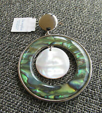 LIA SOPHIA SILVER TONE GENUINE ABALONE & MOTHER OF PEARL PENDANT NECKLACE NWT