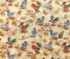 Funny Farm chics hens and cockeral  fabric FQ 50x56 cm Nutex 88650-5 100% Cotton