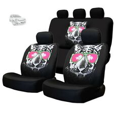 NEW BLACK FABRIC TIGER FACE LOGO FRONT AND REAR CAR SEAT COVERS FOR CHEVROLET