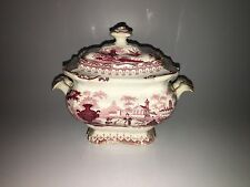 Staffordshire Pink Transfer Sugar Bowl Urn Man Playing Musical Instrument 1835