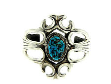Navajo Sterling Silver Bisbee Turquoise Nugget Sandcast Flower Bracelet Cuff