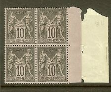 "FRANCE STAMP TIMBRE N°103 ""SAGE 10c NOIR SUR LILAS TYPE III BLOC 4"" NEUF xx TTB"