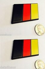 2 MEDIUM SIZE - GERMAN FLAG EURO BADGE FOR VW AUDI BMW MERCEDES PORSCHE $0 SHIP