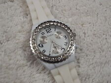 Women's SOPHIE Silvertone Rhinestone White Silicone Watch (A30)