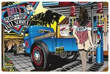 Pin Up Girl Pump n Run Hot Rod Drag Race Metal Sign Man Cave Garage Shop SLP027
