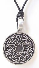 Pewter CELTIC PENTAGRAM Pendant on Black Cord Necklace Nickel Free Pentacle Knot