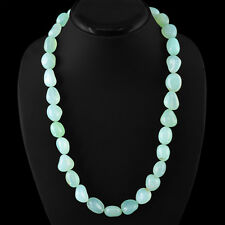 605.00 CTS NATURAL UNTREATED RICH GREEN CHALCEDONY BEADS NECKLACE - BIG DEAL