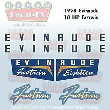 1958 Evinrude 18 HP Fastwin Outboard Repro 6 Pc Marine Vinyl Decals 15024-15025