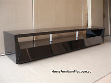 Java High Gloss Black 2m Lowline TV Unit with 2pac Finish