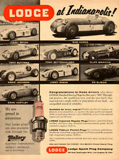 1956 vintage autoparts AD,  LODGE Spark Plugs at Indianapolis 500  060214