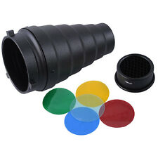 Metal Snoot+65mm Honeycomb Grid+Color Gel Filter for Bowens Bayonet Studio Flash