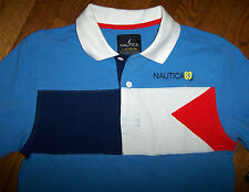 NWT Nautica Boys Blue FLAG Colorblock Cotton Polo Shirt L 14/16 SAILING Boat