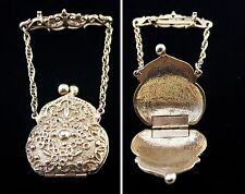 Purse Handbag Brooch Pin Gold Tone with Hinged Opening Secret Compartment