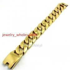 Men Jewelry stainless steel 18K Gold Miami Cuban Chain Link Bracelet 26mm 8.5''