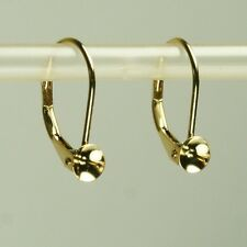 Solid 14K yellow gold one hole pearls mounting leverback earrings finding 0.6gm