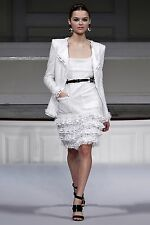 S'11 look 14 SENSATIONAL GORGEOUS Oscar De La Renta white tweed/lace skirt dress