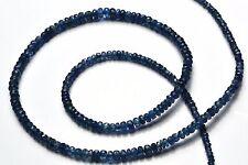 """Super Fine Quality Natural Pailin Blue Sapphire 2-5MM Rondelle Bead Necklace 18"""""""