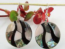 Perlmutt Muschel Ohrringe Abalone Paua Ohrhänger 55x32mm Naturschmuck multicolor
